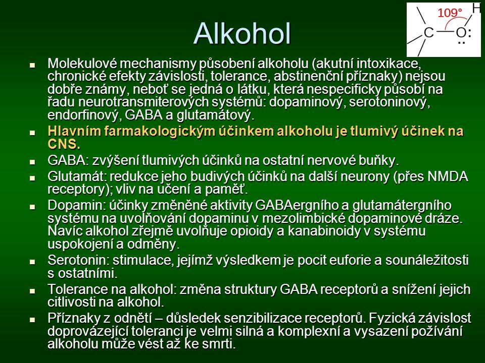 Alkohol Molekulové mechanismy působení alkoholu (akutní intoxikace, chronické efekty závislosti, tolerance, abstinenční příznaky) nejsou dobře známy,