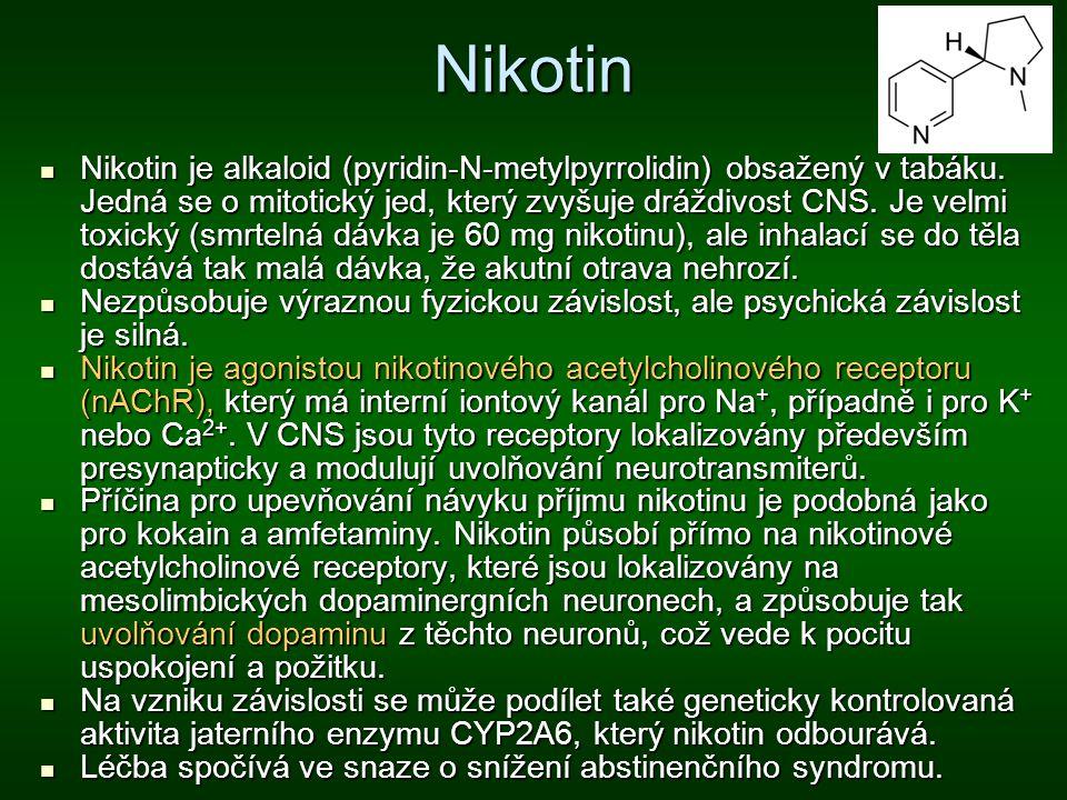 Nikotin Nikotin je alkaloid (pyridin-N-metylpyrrolidin) obsažený v tabáku. Jedná se o mitotický jed, který zvyšuje dráždivost CNS. Je velmi toxický (s