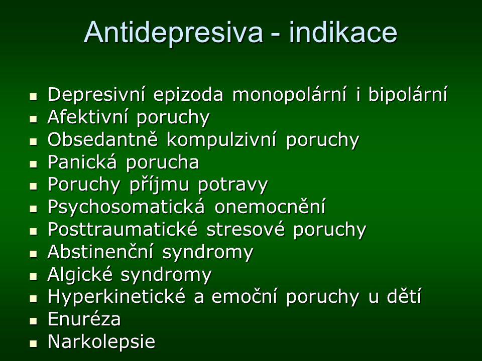 Antidepresiva - indikace Depresivní epizoda monopolární i bipolární Depresivní epizoda monopolární i bipolární Afektivní poruchy Afektivní poruchy Obs