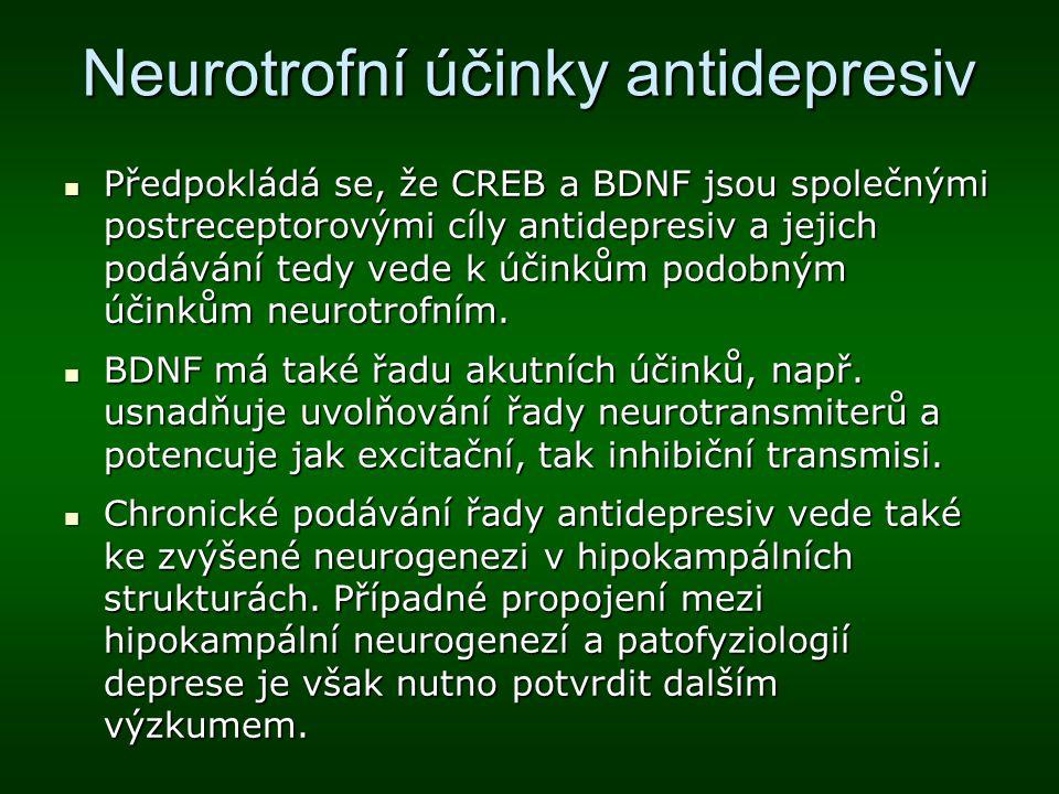 Neurotrofní účinky antidepresiv Předpokládá se, že CREB a BDNF jsou společnými postreceptorovými cíly antidepresiv a jejich podávání tedy vede k účink