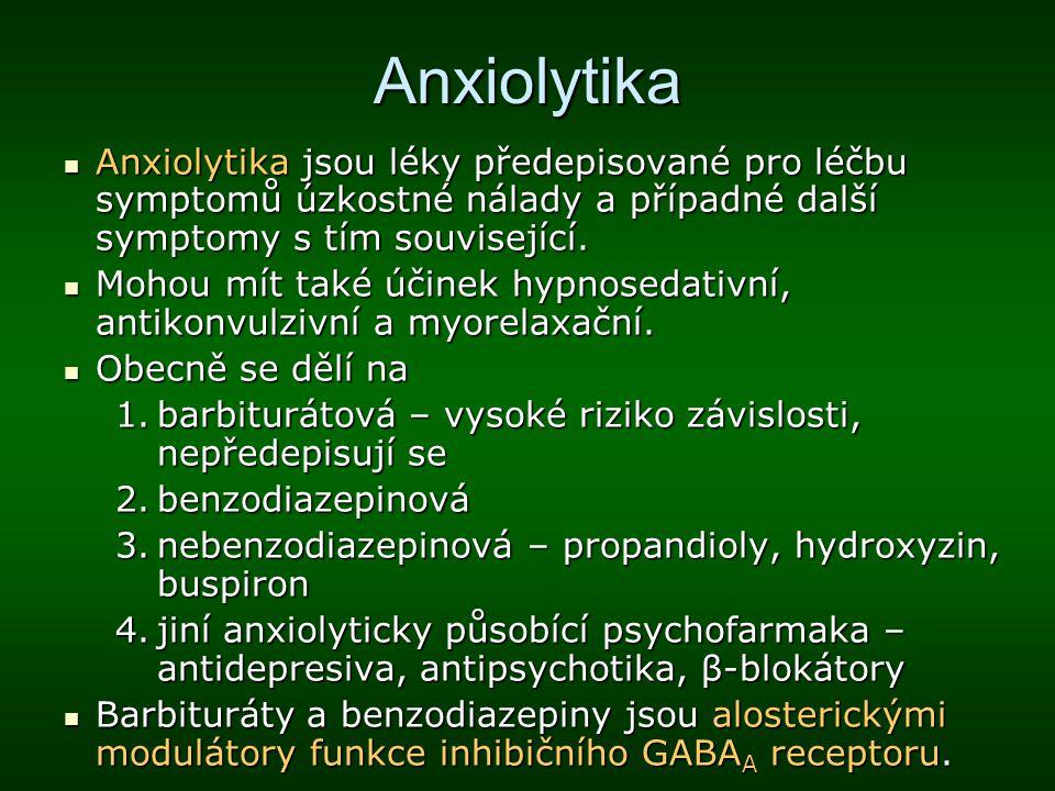 Anxiolytika Anxiolytika jsou léky předepisované pro léčbu symptomů úzkostné nálady a případné další symptomy s tím související. Anxiolytika jsou léky