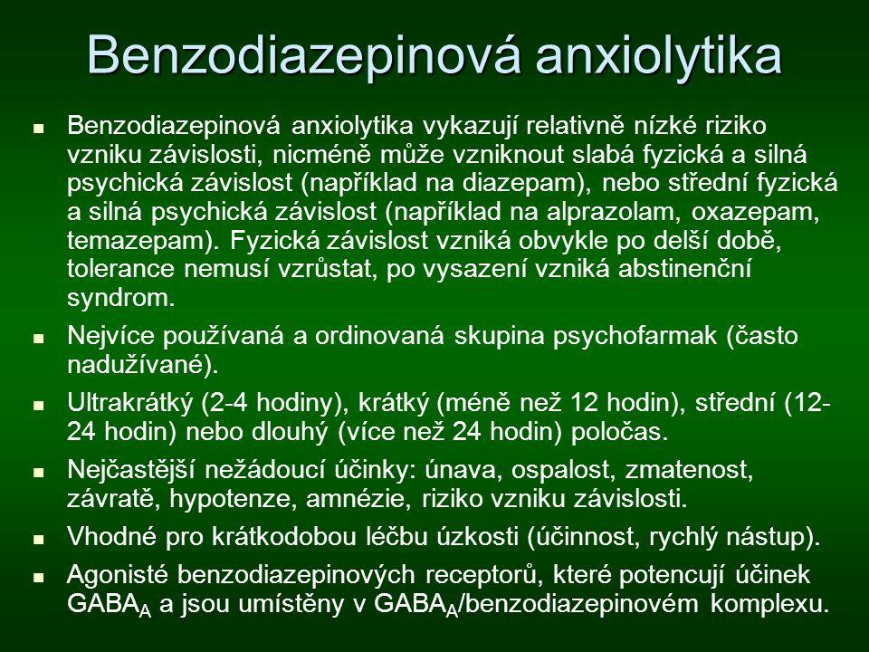 Benzodiazepinová anxiolytika Benzodiazepinová anxiolytika vykazují relativně nízké riziko vzniku závislosti, nicméně může vzniknout slabá fyzická a si