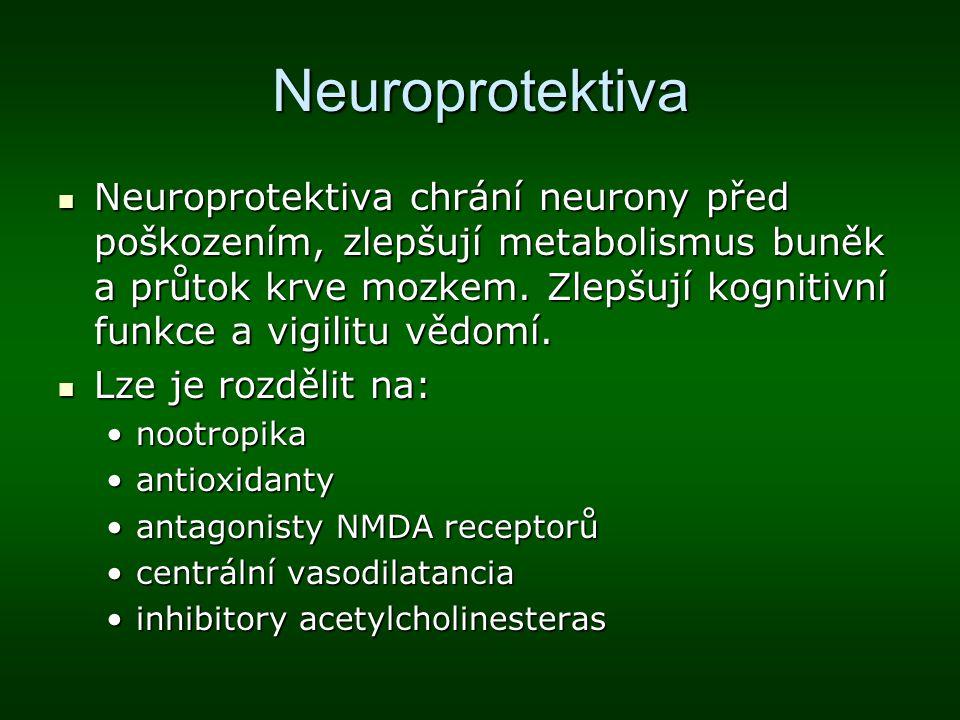Neuroprotektiva Neuroprotektiva chrání neurony před poškozením, zlepšují metabolismus buněk a průtok krve mozkem. Zlepšují kognitivní funkce a vigilit