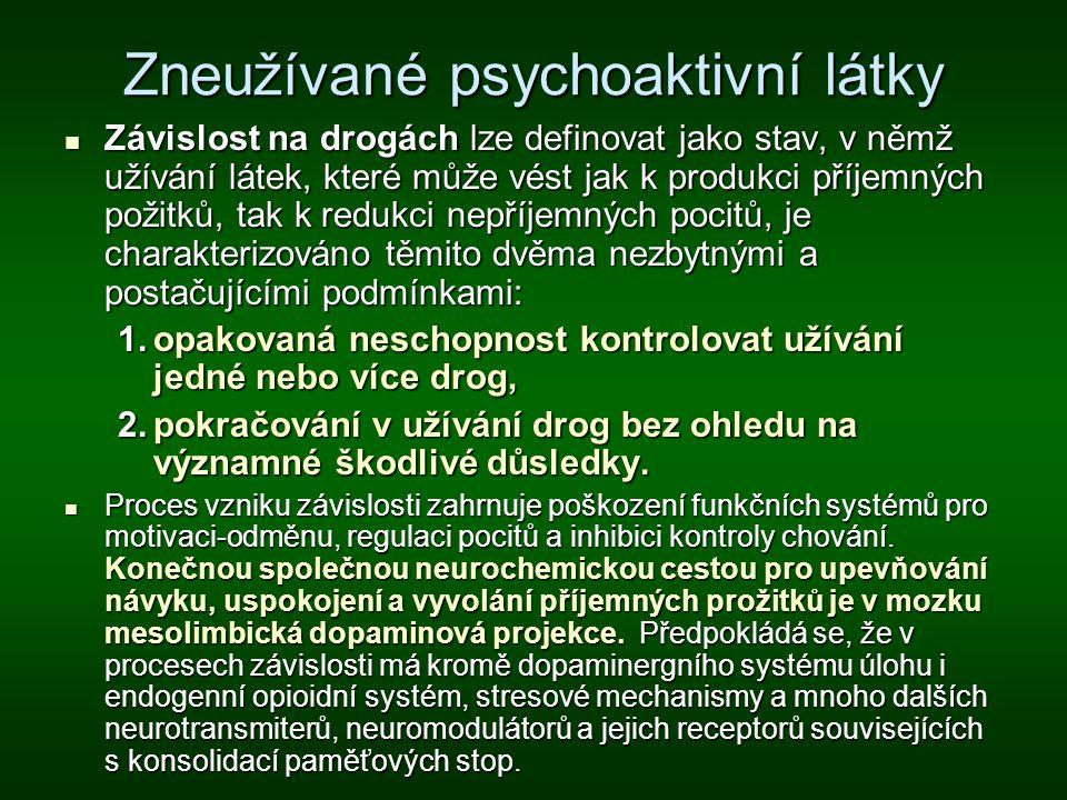 Zneužívané psychoaktivní látky Závislost na drogách lze definovat jako stav, v němž užívání látek, které může vést jak k produkci příjemných požitků,