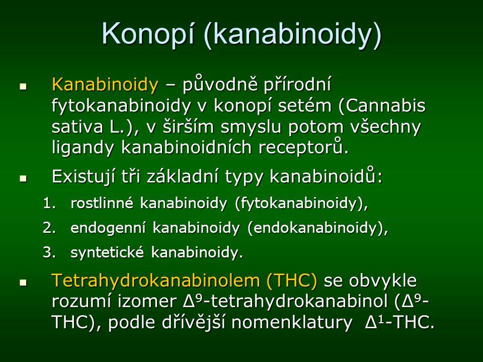 Konopí (kanabinoidy) Kanabinoidy – původně přírodní fytokanabinoidy v konopí setém (Cannabis sativa L.), v širším smyslu potom všechny ligandy kanabin