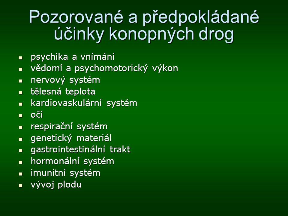 Pozorované a předpokládané účinky konopných drog psychika a vnímání psychika a vnímání vědomí a psychomotorický výkon vědomí a psychomotorický výkon n