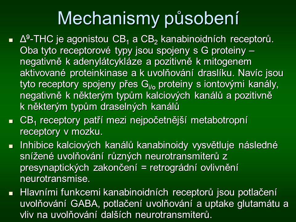Mechanismy působení Δ 9 -THC je agonistou CB 1 a CB 2 kanabinoidních receptorů. Oba tyto receptorové typy jsou spojeny s G proteiny – negativně k aden