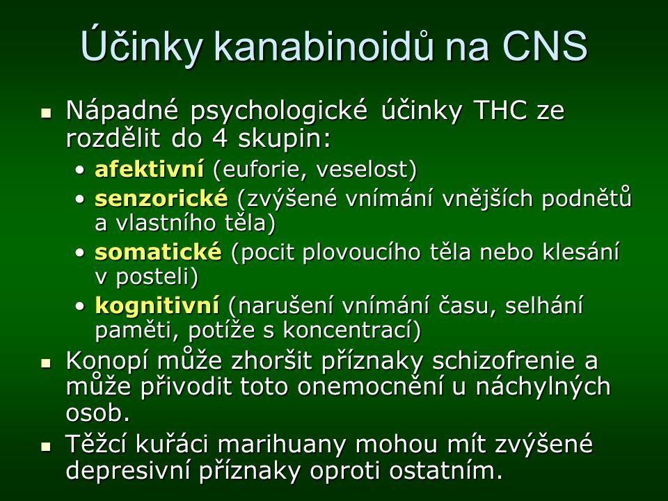Účinky kanabinoidů na CNS Nápadné psychologické účinky THC ze rozdělit do 4 skupin: Nápadné psychologické účinky THC ze rozdělit do 4 skupin: afektivn