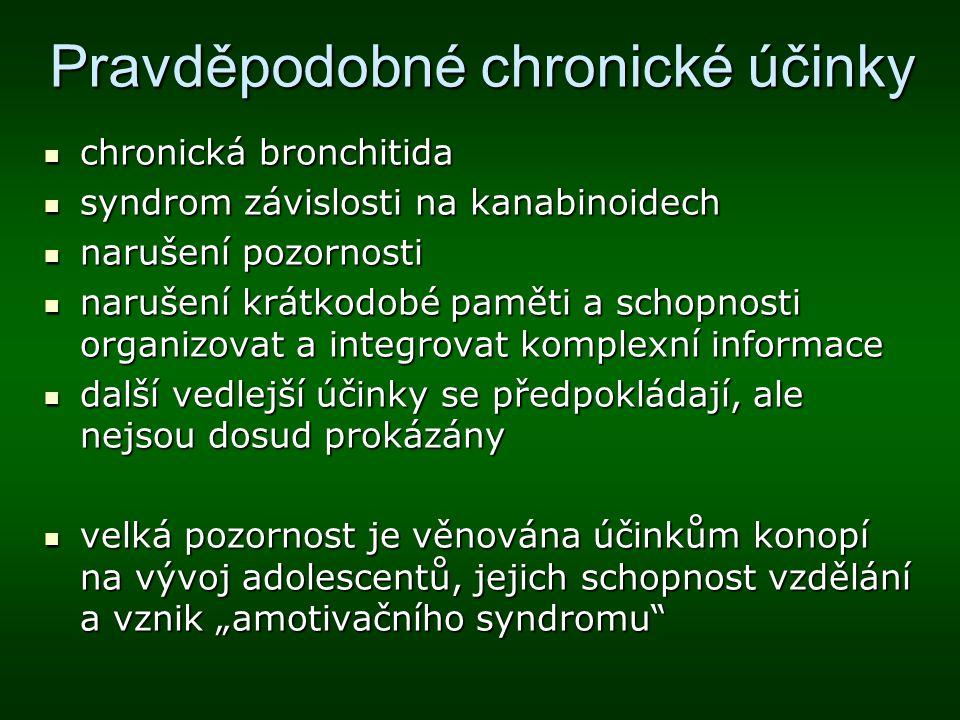 Pravděpodobné chronické účinky chronická bronchitida chronická bronchitida syndrom závislosti na kanabinoidech syndrom závislosti na kanabinoidech nar