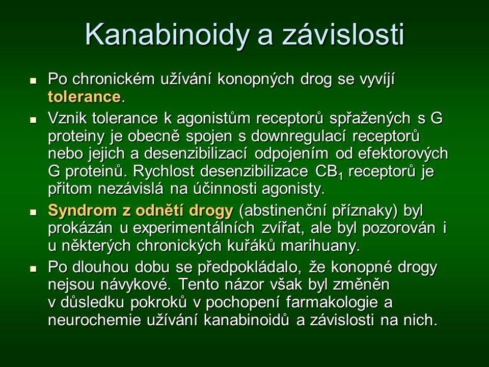 Kanabinoidy a závislosti Po chronickém užívání konopných drog se vyvíjí tolerance. Po chronickém užívání konopných drog se vyvíjí tolerance. Vznik tol