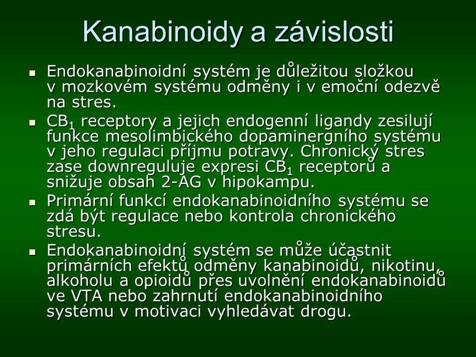Kanabinoidy a závislosti Endokanabinoidní systém je důležitou složkou v mozkovém systému odměny i v emoční odezvě na stres. Endokanabinoidní systém je