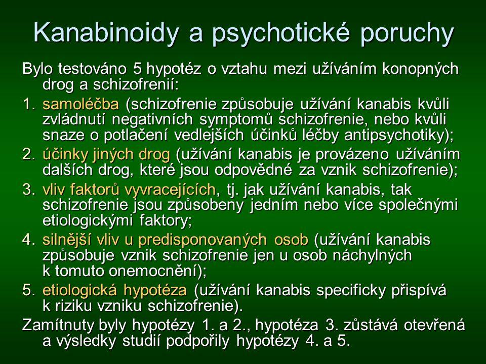 Kanabinoidy a psychotické poruchy Bylo testováno 5 hypotéz o vztahu mezi užíváním konopných drog a schizofrenií: 1.samoléčba (schizofrenie způsobuje u
