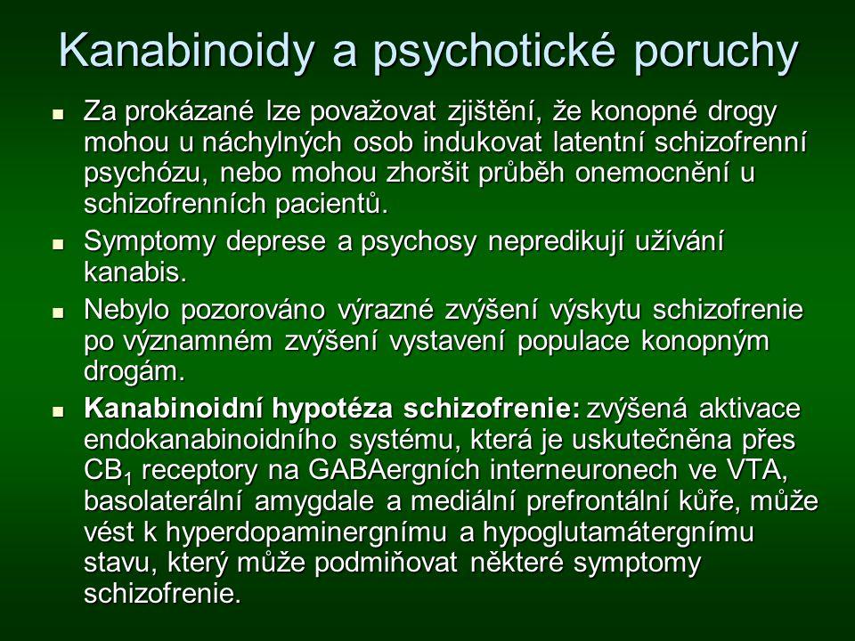 Kanabinoidy a psychotické poruchy Za prokázané lze považovat zjištění, že konopné drogy mohou u náchylných osob indukovat latentní schizofrenní psychó