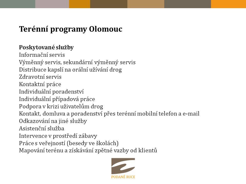 Terénní programy Olomouc Poskytované služby Informační servis Výměnný servis, sekundární výměnný servis Distribuce kapslí na orální užívání drog Zdrav