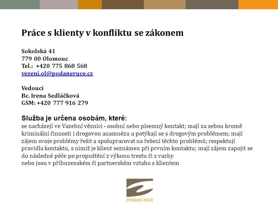 Práce s klienty v konfliktu se zákonem Sokolská 41 779 00 Olomouc Tel.: +420 775 868 568 vezeni.ol@podaneruce.cz vezeni.ol@podaneruce.cz Vedoucí Bc.