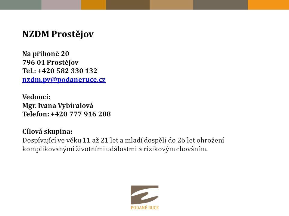 NZDM Prostějov Na příhoně 20 796 01 Prostějov Tel.: +420 582 330 132 nzdm.pv@podaneruce.cz nzdm.pv@podaneruce.cz Vedoucí: Mgr.