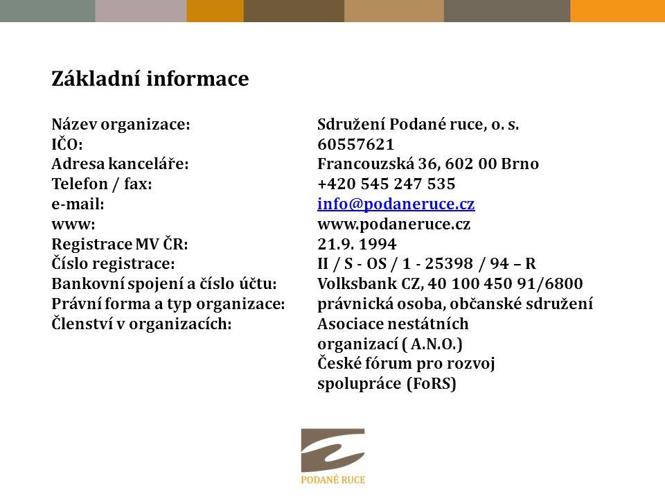 Základní informace Název organizace:Sdružení Podané ruce, o. s. IČO:60557621 Adresa kanceláře:Francouzská 36, 602 00 Brno Telefon / fax:+420 545 247 5