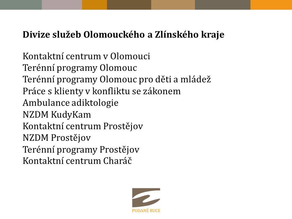 Divize služeb Olomouckého a Zlínského kraje Kontaktní centrum v Olomouci Terénní programy Olomouc Terénní programy Olomouc pro děti a mládež Práce s k