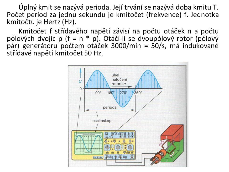 Úplný kmit se nazývá perioda. Její trvání se nazývá doba kmitu T. Počet period za jednu sekundu je kmitočet (frekvence) f. Jednotka kmitočtu je Hertz