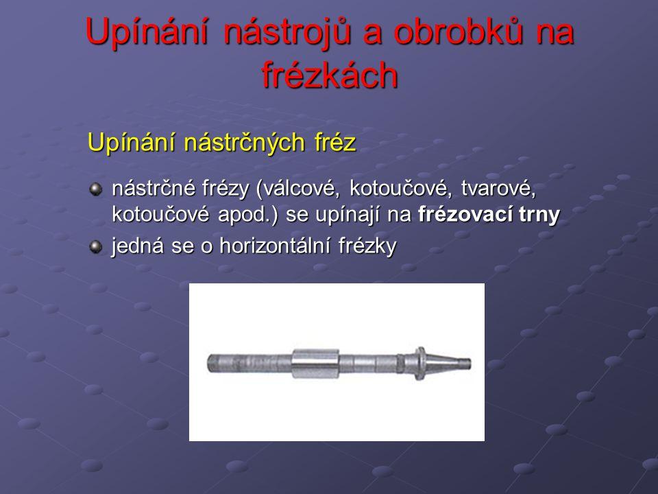 Upínání nástrčných fréz nástrčné frézy (válcové, kotoučové, tvarové, kotoučové apod.) se upínají na frézovací trny jedná se o horizontální frézky
