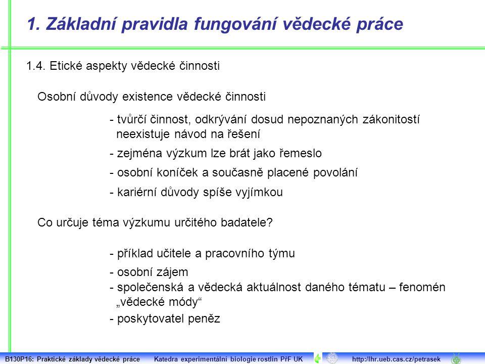 1.4. Etické aspekty vědecké činnosti 1.