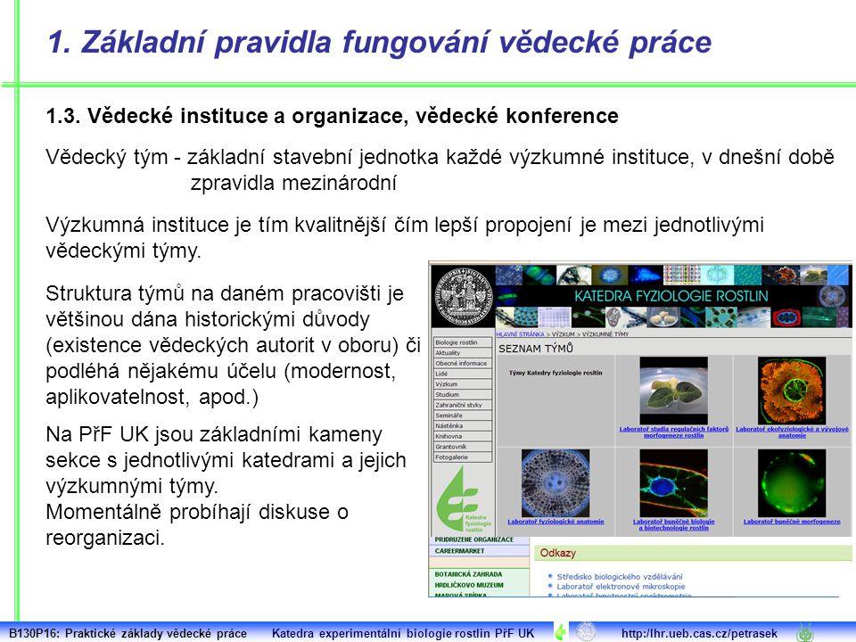 1. Základní pravidla fungování vědecké práce Vědecký tým - základní stavební jednotka každé výzkumné instituce, v dnešní době zpravidla mezinárodní St