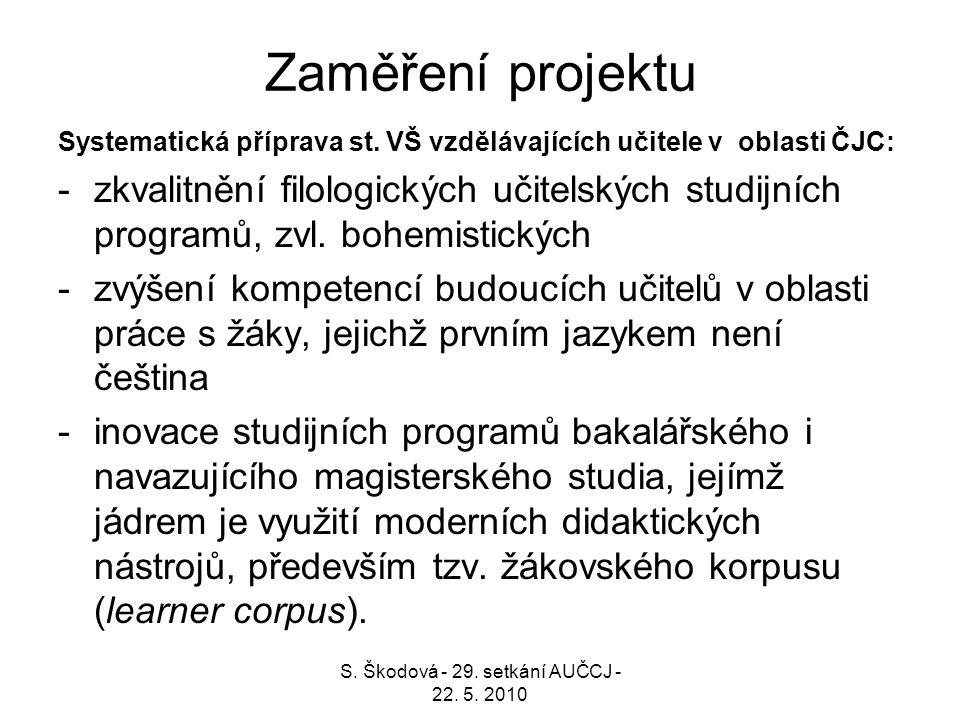 Zaměření projektu Systematická příprava st. VŠ vzdělávajících učitele v oblasti ČJC: -zkvalitnění filologických učitelských studijních programů, zvl.