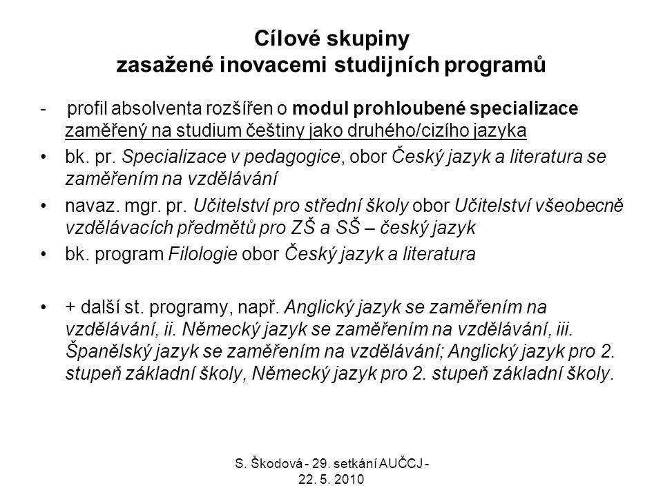 Cílové skupiny zasažené inovacemi studijních programů - profil absolventa rozšířen o modul prohloubené specializace zaměřený na studium češtiny jako d