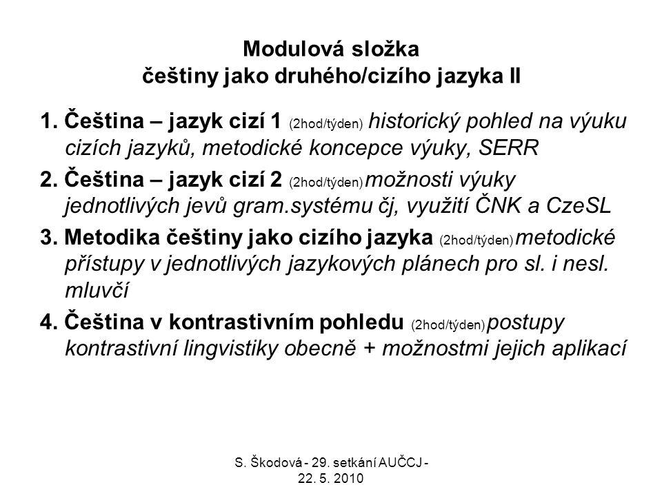 Modulová složka češtiny jako druhého/cizího jazyka II 1. Čeština – jazyk cizí 1 (2hod/týden) historický pohled na výuku cizích jazyků, metodické konce