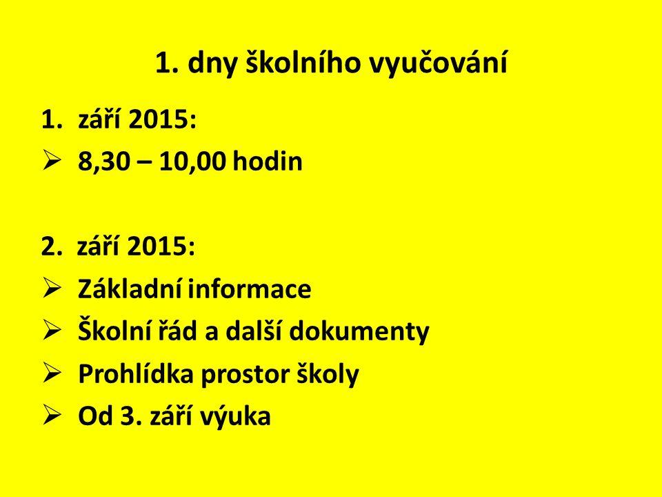 1. dny školního vyučování 1.září 2015:  8,30 – 10,00 hodin 2. září 2015:  Základní informace  Školní řád a další dokumenty  Prohlídka prostor škol