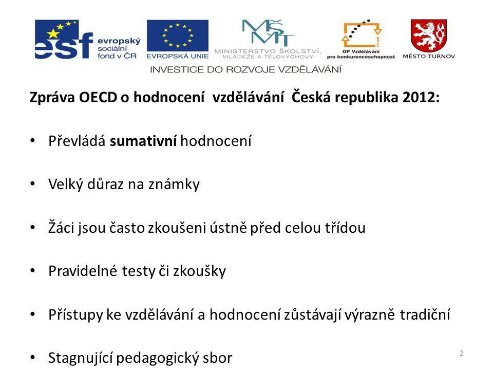 Zpráva OECD o hodnocení vzdělávání Česká republika 2012: Převládá sumativní hodnocení Velký důraz na známky Žáci jsou často zkoušeni ústně před celou třídou Pravidelné testy či zkoušky Přístupy ke vzdělávání a hodnocení zůstávají výrazně tradiční Stagnující pedagogický sbor 2