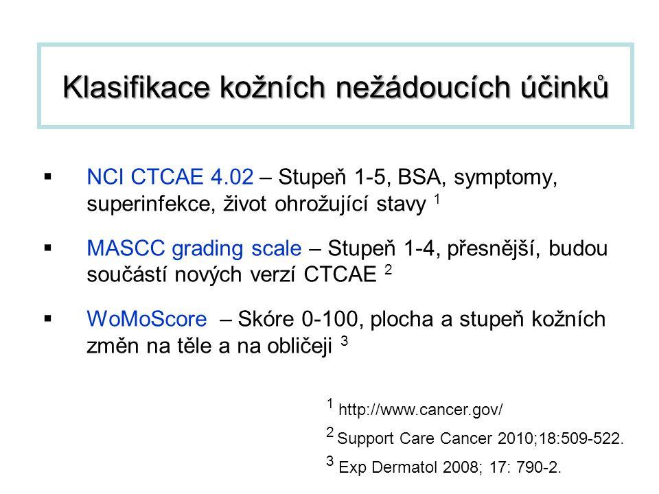 Klasifikace kožních nežádoucích účinků  NCI CTCAE 4.02 – Stupeň 1-5, BSA, symptomy, superinfekce, život ohrožující stavy 1  MASCC grading scale – St