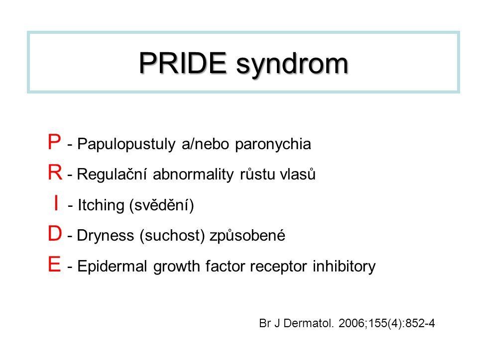 P - Papulopustuly a/nebo paronychia R - Regulační abnormality růstu vlasů I - Itching (svědění) D - Dryness (suchost) způsobené E - Epidermal growth f