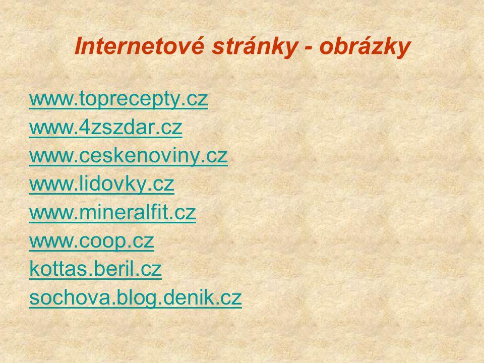 Internetové stránky - obrázky www.toprecepty.cz www.4zszdar.cz www.ceskenoviny.cz www.lidovky.cz www.mineralfit.cz www.coop.cz kottas.beril.cz sochova