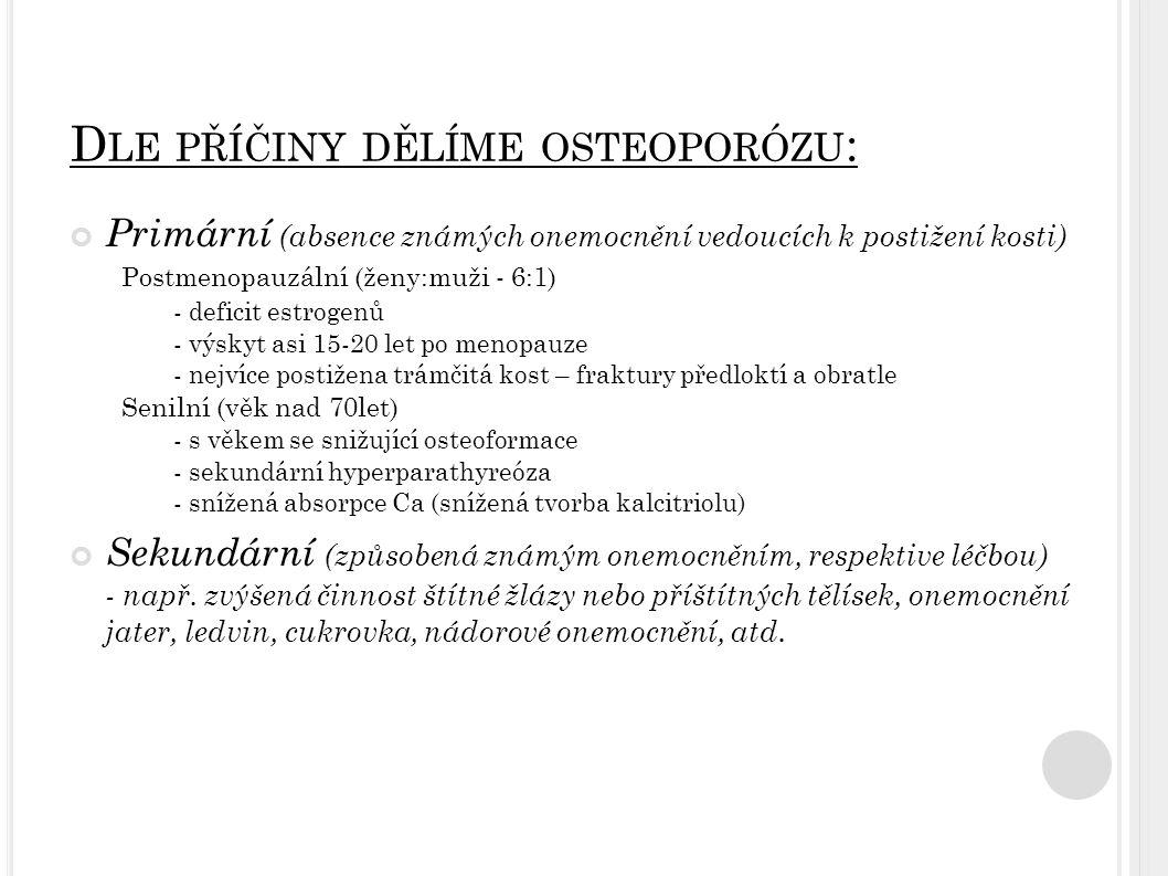 Postmenopauzální osteoporóza Senilní osteoporóza Hlavní patofyziologický mechanismus Deficit estrogenů Komplex: ↓ osteoformace + sekundární hyperparathyreóza + ↓ absorpci vápníku + ↓ tvorba Kalcitriolu Věk15-20 let po menopauze>70 let Typ ztráty kostiTrámčitá kostTrámčitá i kortikální tkáň Pohlaví Postihuje převážně ženy (6:1) Ženy jen o málo častěji než muže (2:1) Typ frakturFraktury kostí s vyšším podílem trámčité tkáně (předloktí, obratle) Fraktury v oblasti kortikální i trámčité kosti
