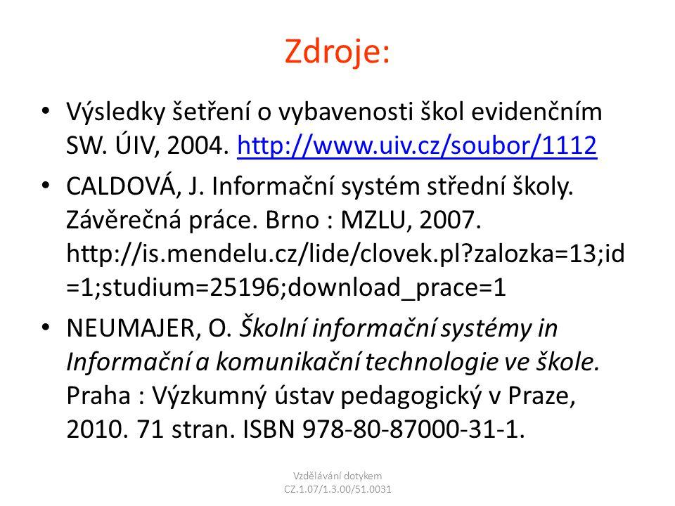 Zdroje: Výsledky šetření o vybavenosti škol evidenčním SW. ÚIV, 2004. http://www.uiv.cz/soubor/1112http://www.uiv.cz/soubor/1112 CALDOVÁ, J. Informačn