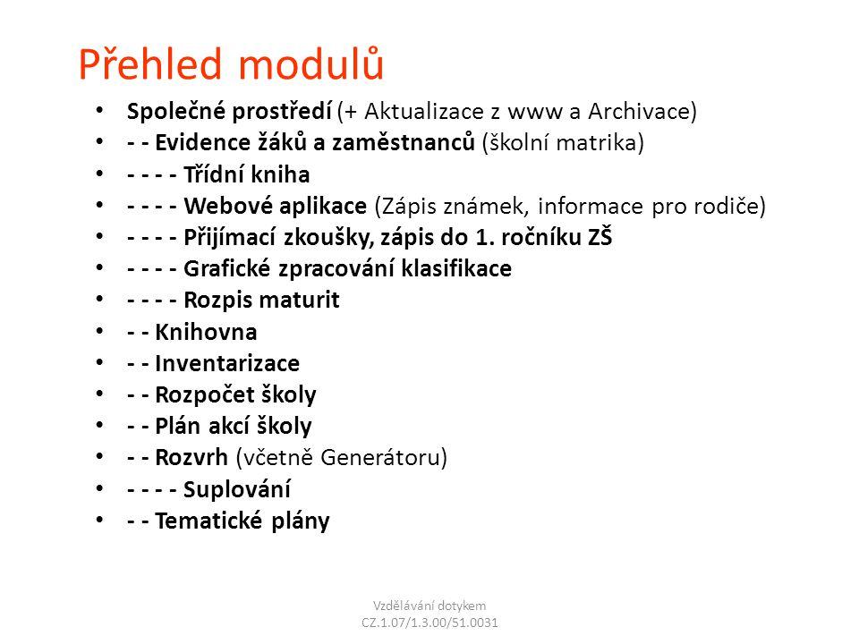 Přehled modulů Společné prostředí (+ Aktualizace z www a Archivace) - - Evidence žáků a zaměstnanců (školní matrika) - - - - Třídní kniha - - - - Webo