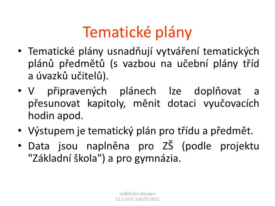 Tematické plány Tematické plány usnadňují vytváření tematických plánů předmětů (s vazbou na učební plány tříd a úvazků učitelů). V připravených plánec