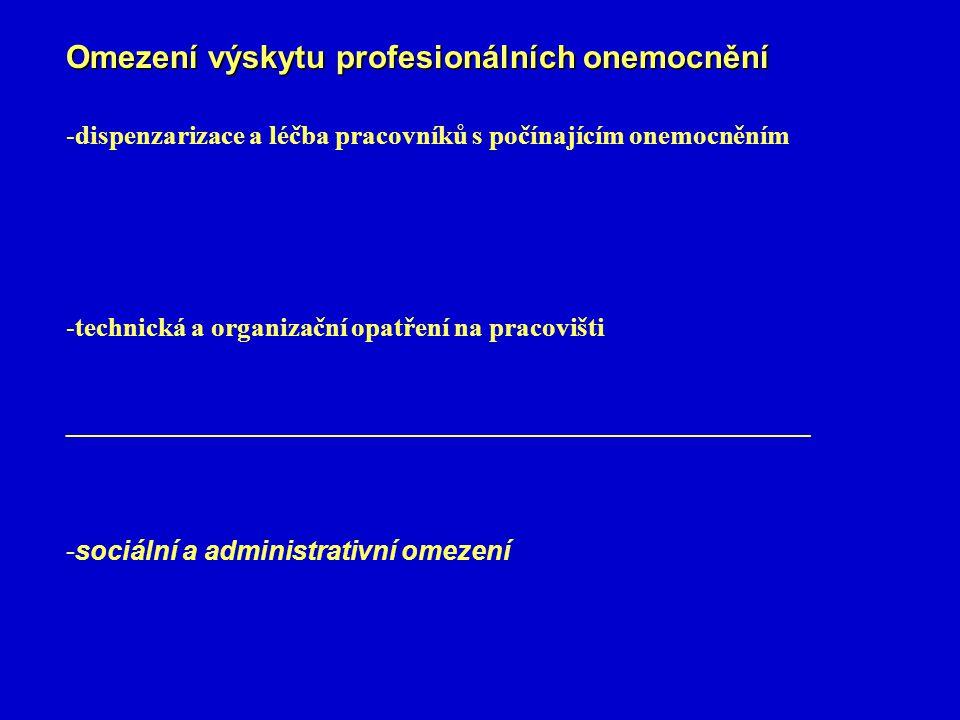 Omezení výskytu profesionálních onemocnění -dispenzarizace a léčba pracovníků s počínajícím onemocněním -technická a organizační opatření na pracovišti __________________________________________________ -sociální a administrativní omezení