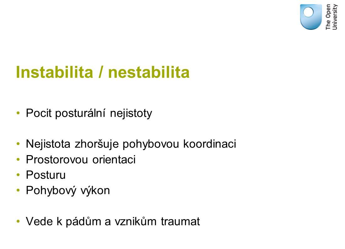 Instabilita / nestabilita Pocit posturální nejistoty Nejistota zhoršuje pohybovou koordinaci Prostorovou orientaci Posturu Pohybový výkon Vede k pádům