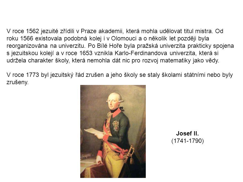 Obsah výuky matematiky na reálkách v roce 1849 Počet týdenních hodin v jednotlivých ročnících: 4, 4, 4, 5, 4, 4 1.