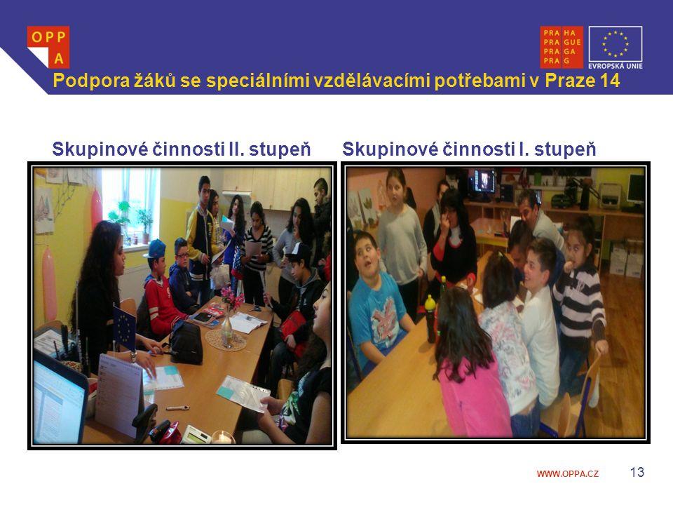 WWW.OPPA.CZ Podpora žáků se speciálními vzdělávacími potřebami v Praze 14 Skupinové činnosti II. stupeňSkupinové činnosti I. stupeň 13