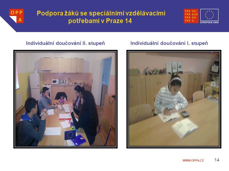 WWW.OPPA.CZ Podpora žáků se speciálnímí vzdělávacími potřebami v Praze 14 Individuální doučování II. stupeňIndividuální doučování I. stupeň 14