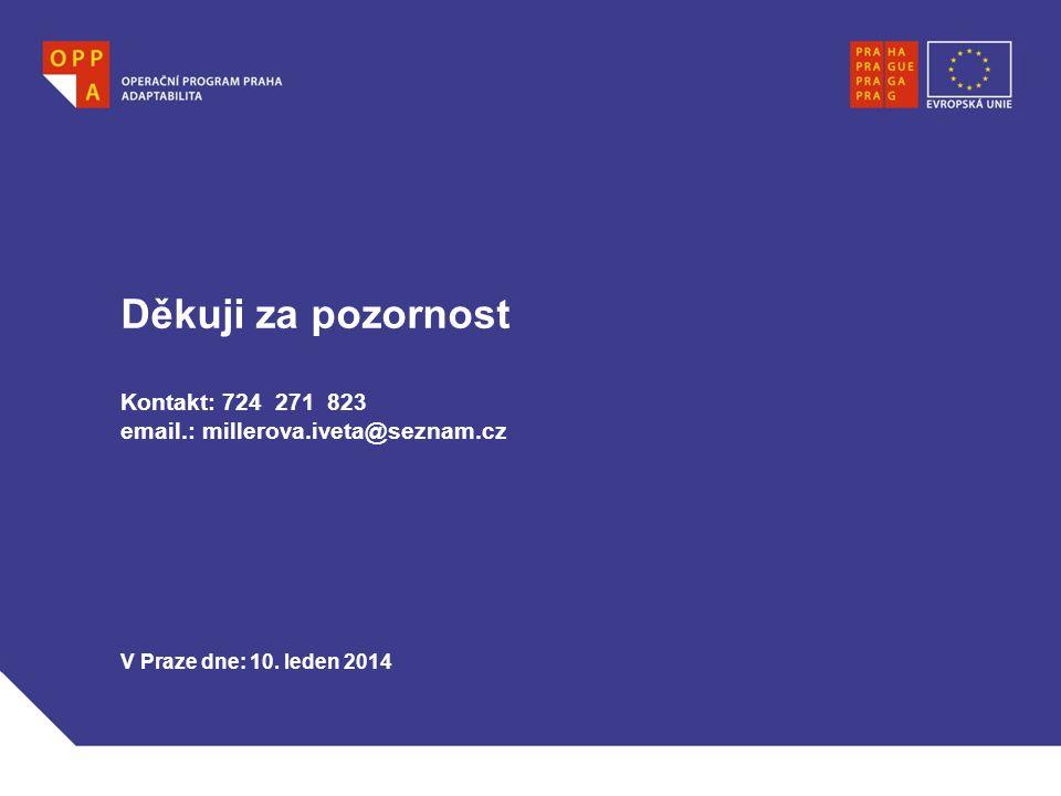 Děkuji za pozornost Kontakt: 724 271 823 email.: millerova.iveta@seznam.cz V Praze dne: 10. leden 2014