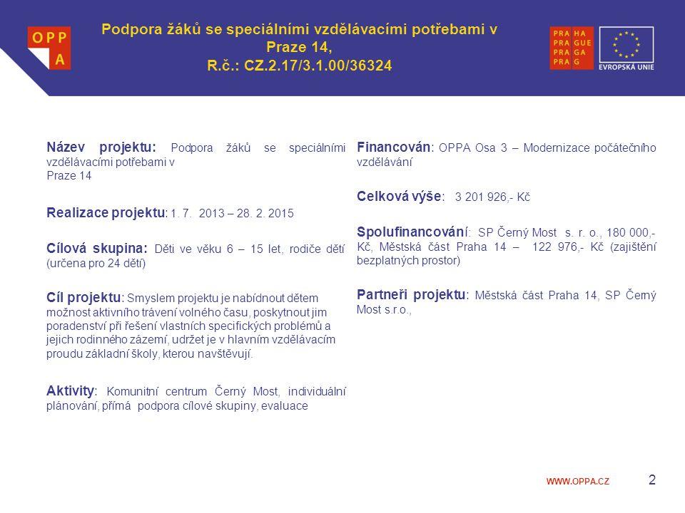 WWW.OPPA.CZ Podpora žáků se speciálními vzdělávacími potřebami v Praze 14, R.č.: CZ.2.17/3.1.00/36324 Název projektu: Podpora žáků se speciálními vzdě