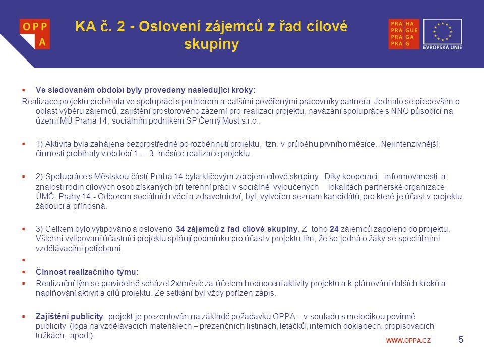 WWW.OPPA.CZ KA č. 2 - Oslovení zájemců z řad cílové skupiny  Ve sledovaném období byly provedeny následující kroky: Realizace projektu probíhala ve s