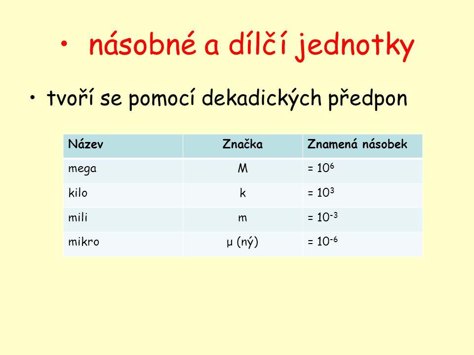 násobné a dílčí jednotky tvoří se pomocí dekadických předpon NázevZnačkaZnamená násobek megaM= 10 6 kilok= 10 3 milim= 10 -3 mikroμ (ný)= 10 -6