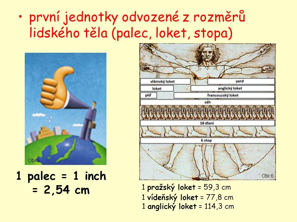 první jednotky odvozené z rozměrů lidského těla (palec, loket, stopa) 1 palec = 1 inch = 2,54 cm 1 pražský loket = 59,3 cm 1 vídeňský loket = 77,8 cm