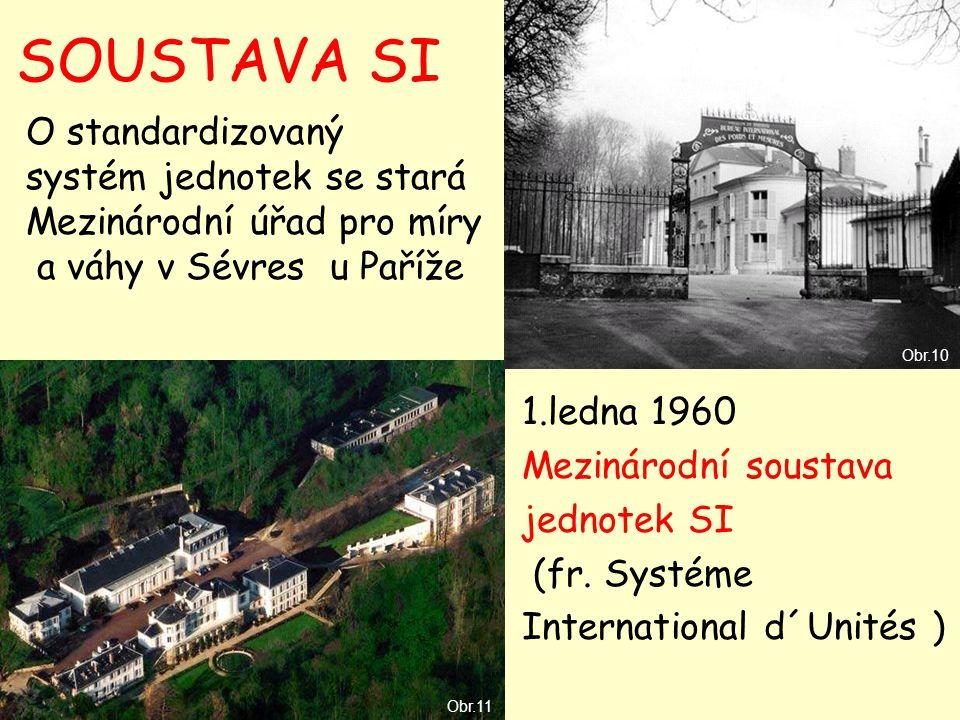 SOUSTAVA SI 1.ledna 1960 Mezinárodní soustava jednotek SI (fr. Systéme International d´Unités ) O standardizovaný systém jednotek se stará Mezinárodní