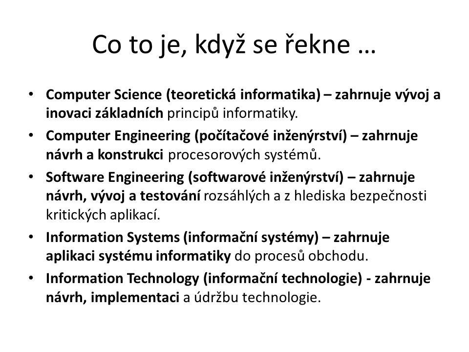 Co to je, když se řekne … Computer Science (teoretická informatika) – zahrnuje vývoj a inovaci základních principů informatiky. Computer Engineering (